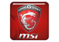 "MSI Gaming G Series Red 1""x1"" Chrome Effect Domed Case Badge / Sticker Logo"