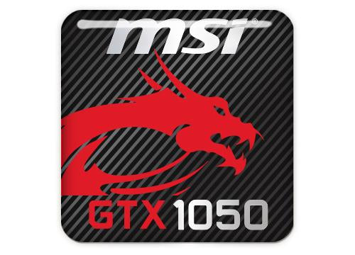 "MSI GeForce GTX 1050 1""x1"" Chrome Effect Domed Case Badge / Sticker Logo"