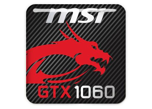 "MSI GeForce GTX 1060 1""x1"" Chrome Effect Domed Case Badge / Sticker Logo"