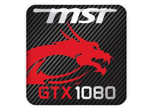 "MSI GeForce GTX 1080 1""x1"" Chrome Effect Domed Case Badge / Sticker Logo"