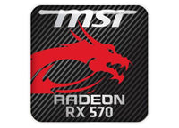 "MSI Radeon RX 570 1""x1"" Chrome Effect Domed Case Badge / Sticker Logo"