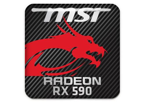 "MSI Radeon RX 590 1""x1"" Chrome Effect Domed Case Badge / Sticker Logo"