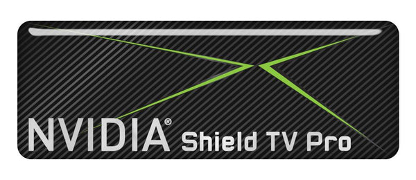 "NVIDIA Shield TV Pro 2.75""x1"" Chrome Effect Domed Case Badge / Sticker Logo"