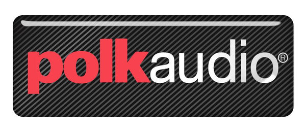 "Polk Audio Design #1 2.75""x1"" Chrome Effect Domed Case Badge / Sticker Logo"