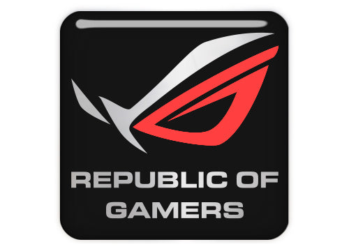 "Asus Republic of Gamers ROG Black Red 1""x1"" Chrome Effect Domed Case Badge / Sticker Logo"