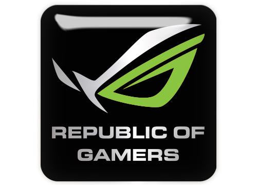 "Asus Republic of Gamers ROG Green 1""x1"" Chrome Effect Domed Case Badge / Sticker Logo"