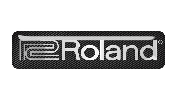 "Roland 2""x0.5"" Chrome Effect Domed Case Badge / Sticker Logo"