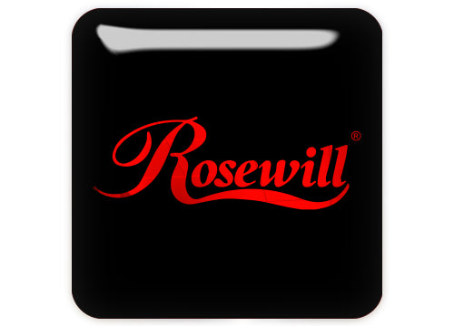 "Rosewill Red 1""x1"" Chrome Effect Domed Case Badge / Sticker Logo"