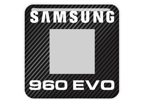 "Samsung 960 EVO SSD 1""x1"" Chrome Effect Domed Case Badge / Sticker Logo"