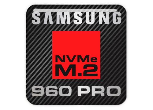 "Samsung 960 PRO NVMe M.2 SSD 1""x1"" Chrome Effect Domed Case Badge / Sticker Logo"