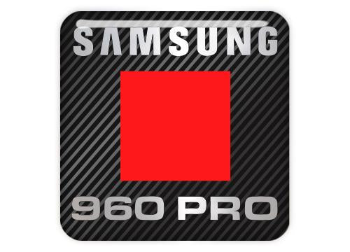"Samsung 960 PRO SSD 1""x1"" Chrome Effect Domed Case Badge / Sticker Logo"