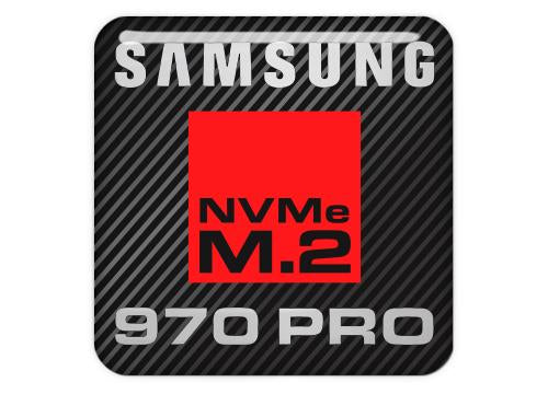 "Samsung 970 PRO NVMe M.2 SSD 1""x1"" Chrome Effect Domed Case Badge / Sticker Logo"