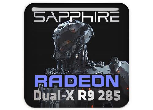 "Sapphire Radeon Dual-X R9 285 1""x1"" Chrome Effect Domed Case Badge / Sticker Logo"