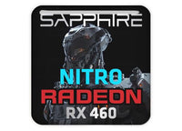 "Sapphire Radeon Nitro RX 460 1""x1"" Chrome Effect Domed Case Badge / Sticker Logo"
