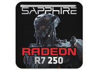 "Sapphire Radeon R7 250 1""x1"" Chrome Effect Domed Case Badge / Sticker Logo"