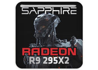 "Sapphire Radeon R9 295X2 1""x1"" Chrome Effect Domed Case Badge / Sticker Logo"