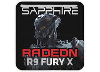 "Sapphire Radeon R9 FURY X 1""x1"" Chrome Effect Domed Case Badge / Sticker Logo"