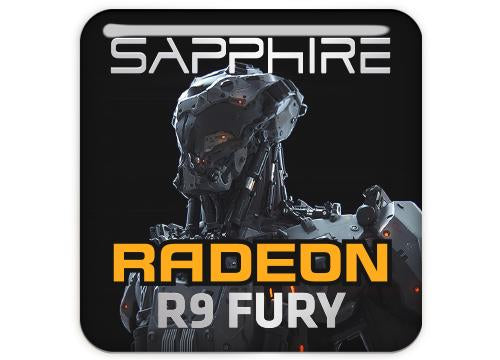 "Sapphire Radeon R9 FURY 1""x1"" Chrome Effect Domed Case Badge / Sticker Logo"