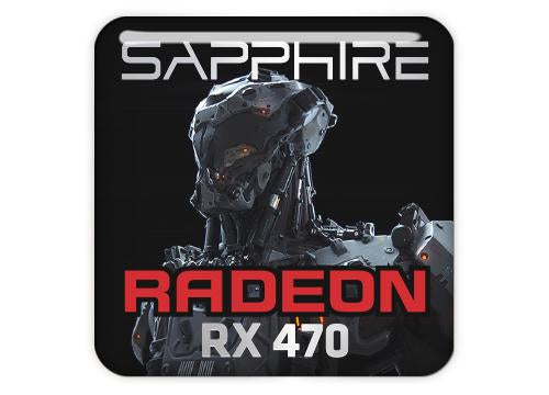 "Sapphire Radeon RX 470 1""x1"" Chrome Effect Domed Case Badge / Sticker Logo"