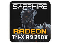 "Sapphire Radeon Tri-X R9 290X 1""x1"" Chrome Effect Domed Case Badge / Sticker Logo"