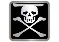 "Skull and Crossbones / Pirate 1""x1"" Chrome Effect Domed Case Badge / Sticker Logo"