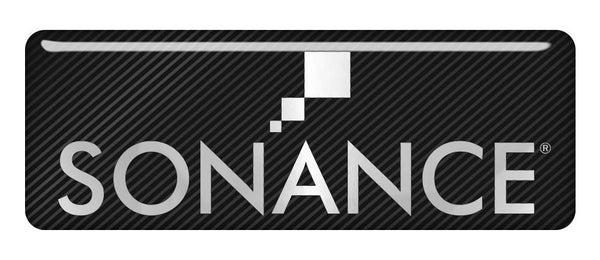 "Sonance 2.75""x1"" Chrome Effect Domed Case Badge / Sticker Logo"