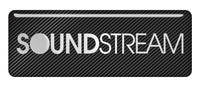 "Soundstream 2.75""x1"" Chrome Effect Domed Case Badge / Sticker Logo"