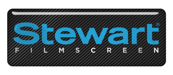 "Stewart Filmscreen 2.75""x1"" Chrome Effect Domed Case Badge / Sticker Logo"