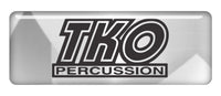 "TKO Percussion 2.75""x1"" Chrome Effect Domed Case Badge / Sticker Logo"