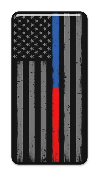 "Thin Blue & Red Line Police Firefighter 2""x1"" Chrome Effect Domed Case Badge / Sticker Logo"