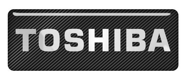 "Toshiba 2.75""x1"" Chrome Effect Domed Case Badge / Sticker Logo"