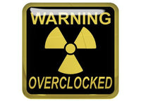 "Warning Overclocked Gold 1""x1"" Chrome Effect Domed Case Badge / Sticker Logo"