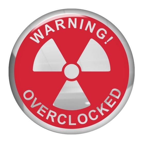 "Warning Overclocked Red 1.5"" Diameter Round Chrome Effect Domed Case Badge / Sticker Logo"