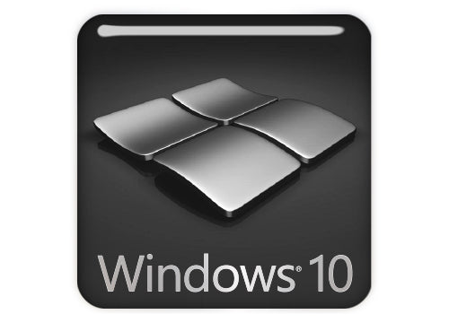 "Windows 10 Gunmetal 1""x1"" Chrome Effect Domed Case Badge / Sticker Logo"