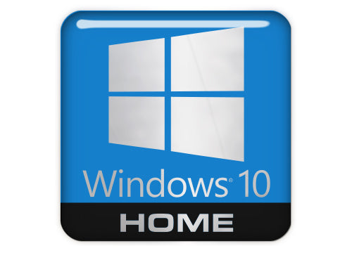 "Windows 10 Home 1""x1"" Chrome Effect Domed Case Badge / Sticker Logo"
