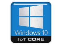 "Windows 10 IoT Core 1""x1"" Chrome Effect Domed Case Badge / Sticker Logo"