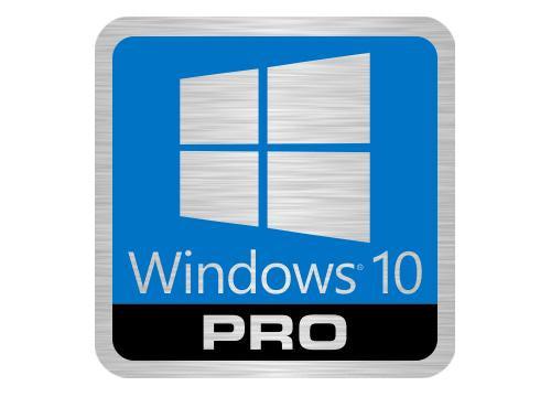 "Windows 10 Pro Lot of Two 1""x1"" Brushed Silver Effect Flat Stickers"