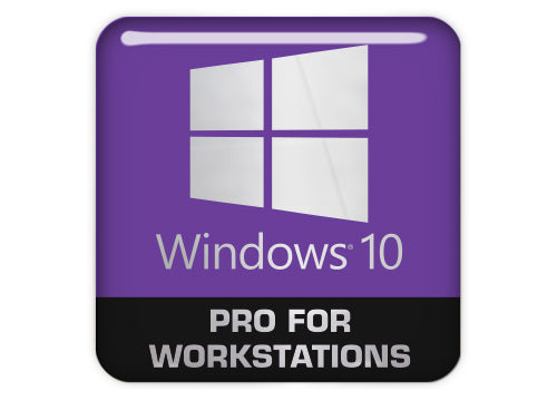 "Windows 10 Pro for Workstations 1""x1"" Chrome Effect Domed Case Badge / Sticker Logo"
