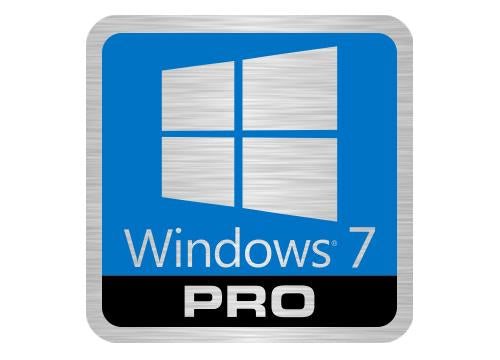 "Windows 7 Pro Lot of Two 1""x1"" Brushed Silver Effect Flat Stickers"