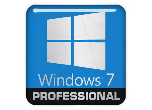 "Windows 7 Professional 1""x1"" Chrome Effect Domed Case Badge / Sticker Logo"