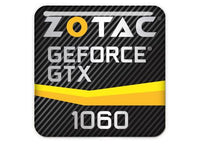 "Zotac GeForce GTX 1060 1""x1"" Chrome Effect Domed Case Badge / Sticker Logo"