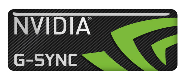 "nVidia G-Sync 2.75""x1"" Chrome Effect Domed Case Badge / Sticker Logo"