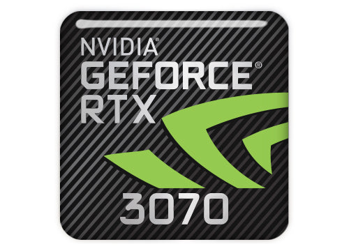"nVidia GeForce RTX 3070 1""x1"" Chrome Effect Domed Case Badge / Sticker Logo"