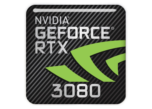 "nVidia GeForce RTX 3080 1""x1"" Chrome Effect Domed Case Badge / Sticker Logo"