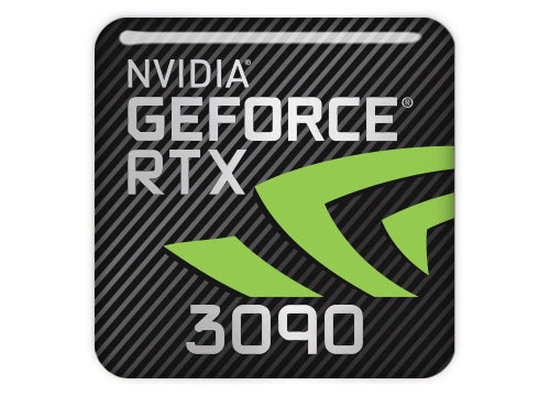 "nVidia GeForce RTX 3090 1""x1"" Chrome Effect Domed Case Badge / Sticker Logo"
