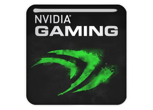 "nVidia Gaming 1""x1"" Chrome Effect Domed Case Badge / Sticker Logo"