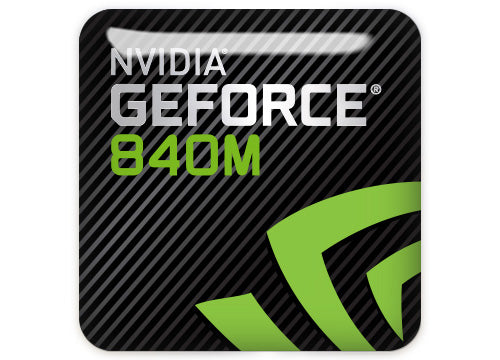 "nVidia GeForce 840M 1""x1"" Chrome Effect Domed Case Badge / Sticker Logo"