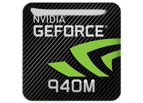 "nVidia GeForce 940M 1""x1"" Chrome Effect Domed Case Badge / Sticker Logo"
