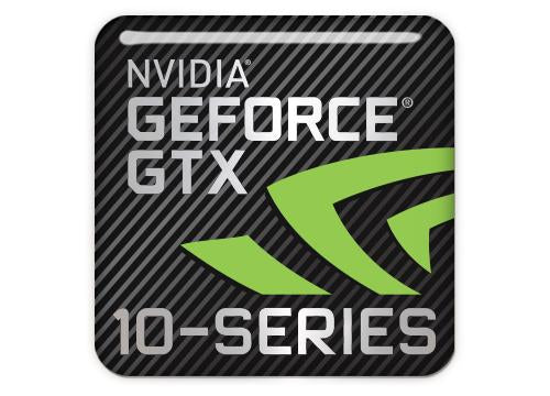 "nVidia GeForce GTX 10-Series 1""x1"" Chrome Effect Domed Case Badge / Sticker Logo"