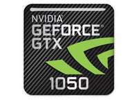 "nVidia GeForce GTX 1050 1""x1"" Chrome Effect Domed Case Badge / Sticker Logo"